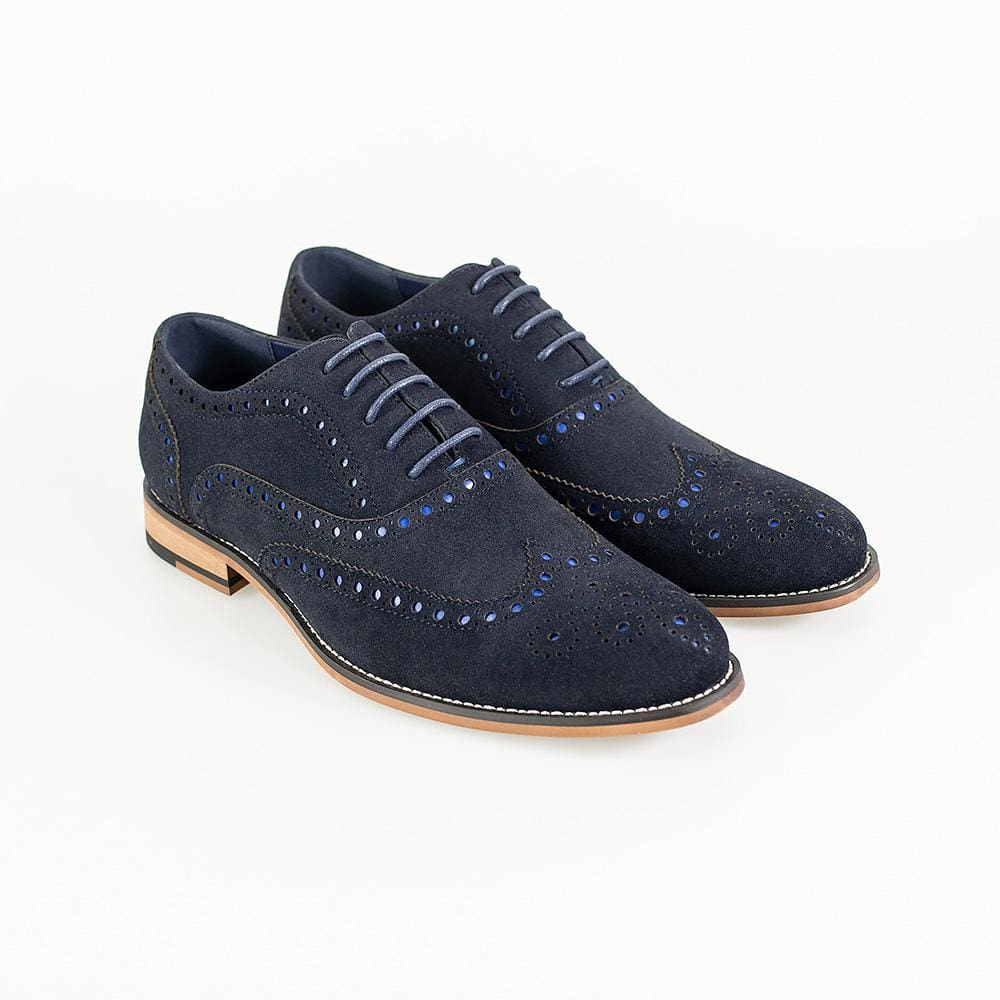 Cavani Mens Mortimer Navy Suede Brogue Shoes - UK7 | EU41 - Shoes