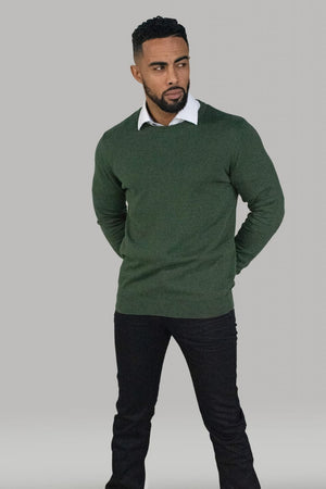 Cavani Men's Olive Crewneck Knit - S - Shirts