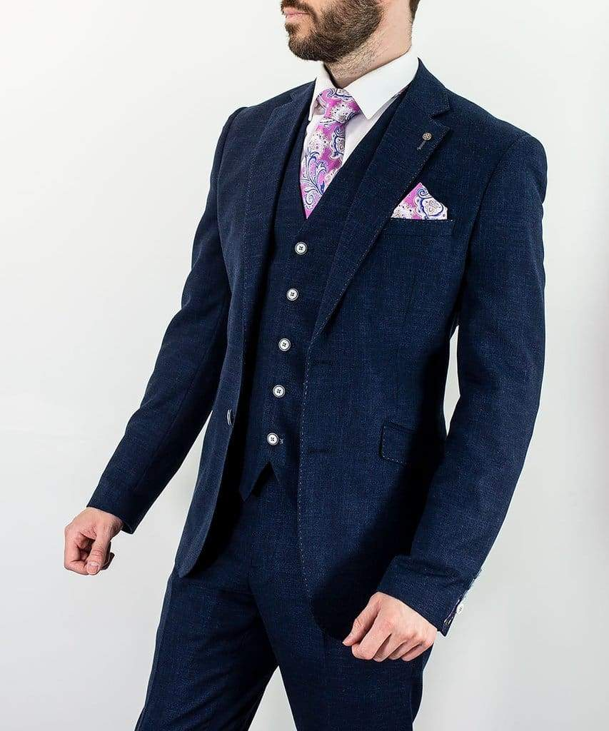 Cavani Miami Mens Navy Slim Fit Three Piece Suit - 36R / 30R - Suit & Tailoring