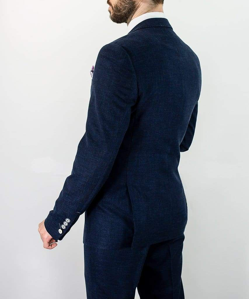 Cavani Miami Mens Navy Slim Fit Three Piece Suit - Suit & Tailoring