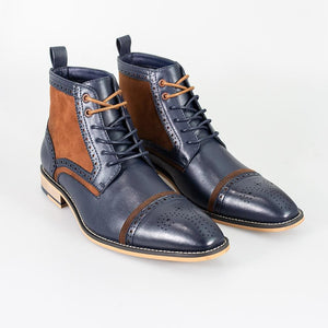 Cavani Modena Navy/Cognac Mens Leather Boots - UK7 | EU41 - Boots