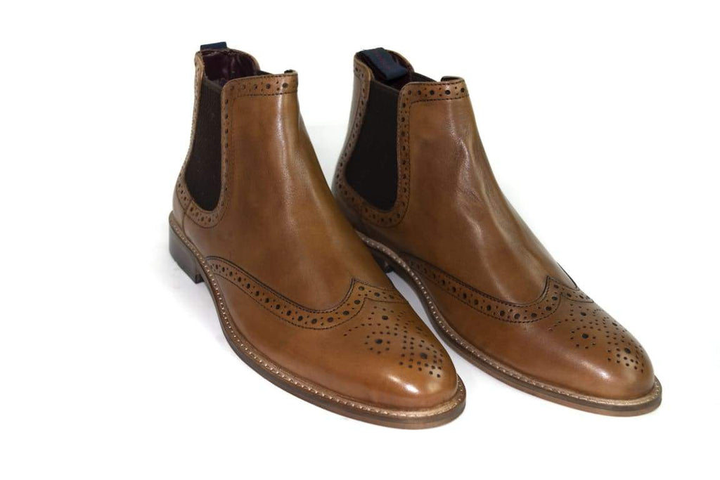 Cavani Porter Tan Brogue Boots - UK7 | EU41 - Boots