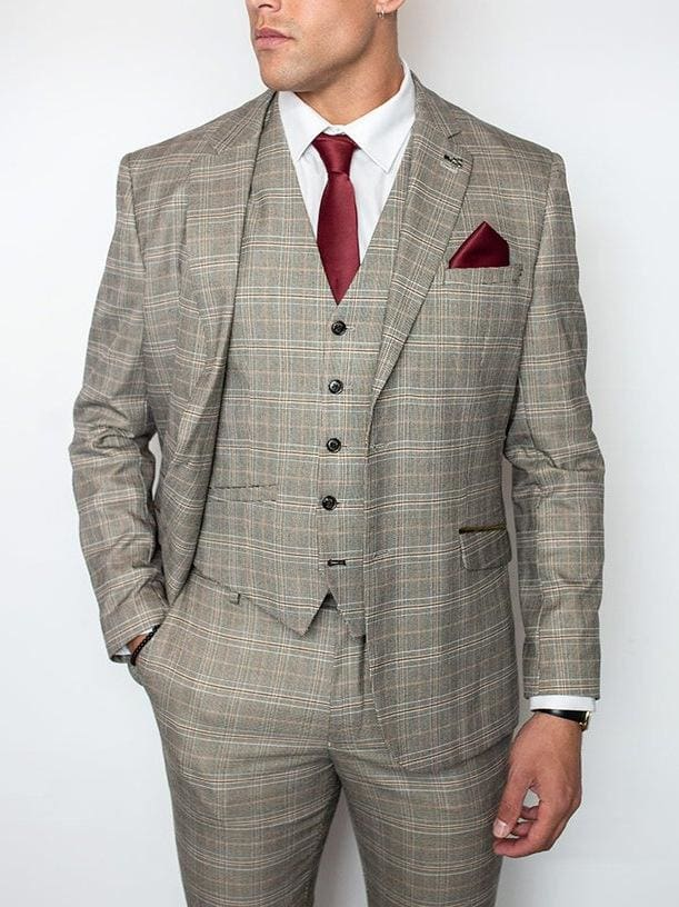 Cavani Quincy Mens Stone Check Slim Fit Three Piece Suit - Suit & Tailoring