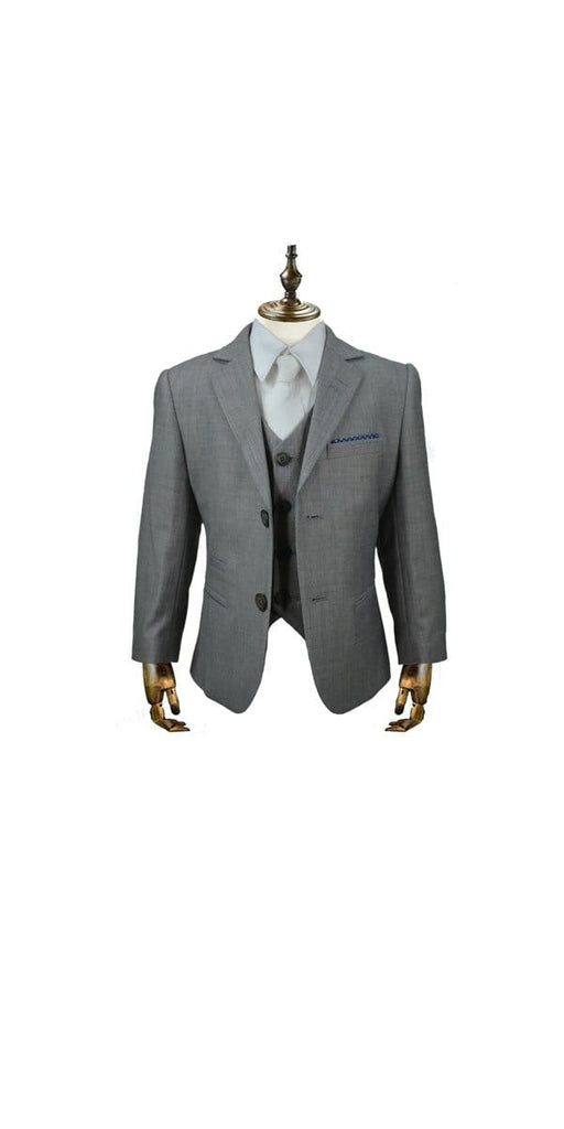 Cavani Reegan Boys Three Piece Grey Slim Fit Suit - 1 YEAR - Suit & Tailoring