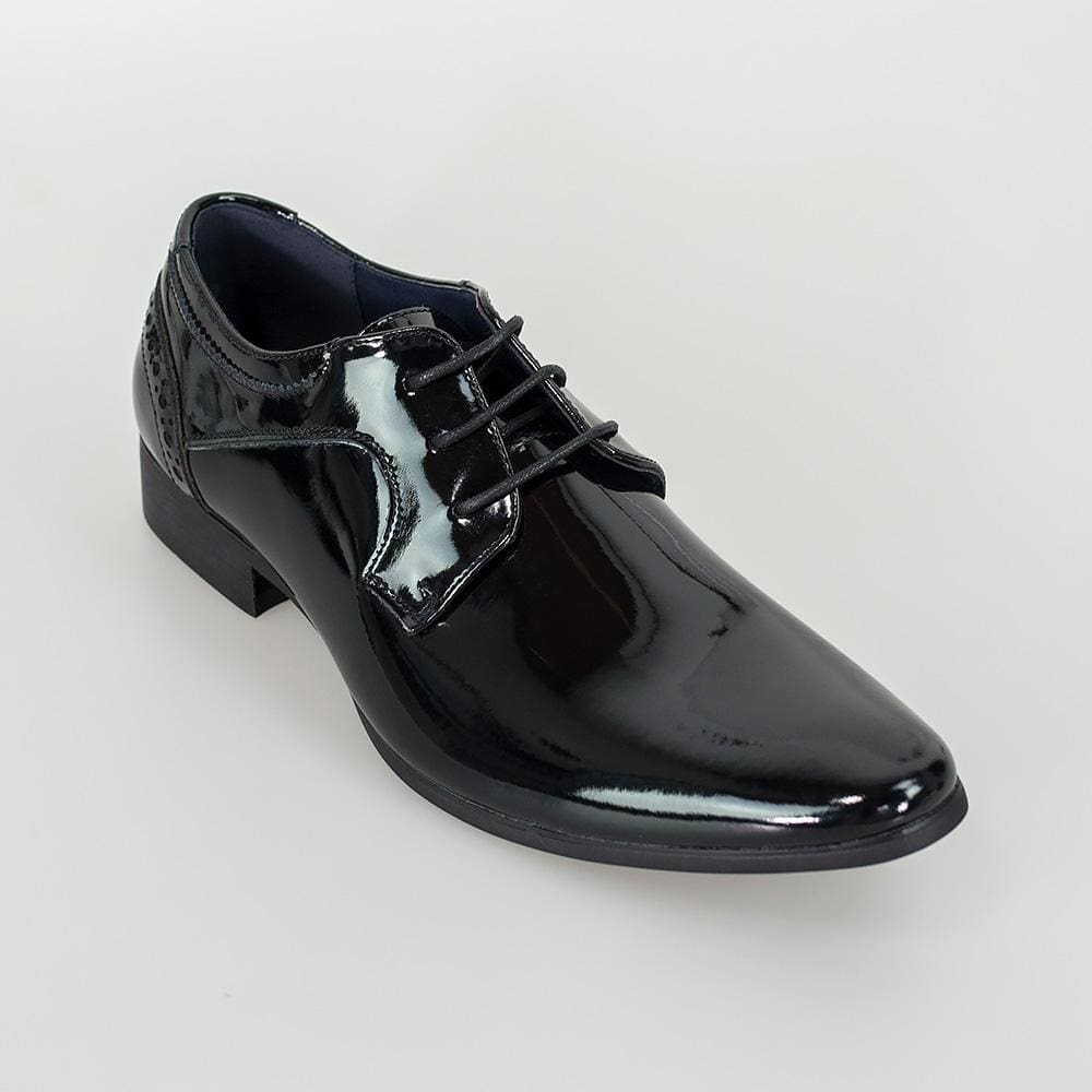 Cavani Scott Black Patent Mens Leather Shoes - UK7 | EU41 - Shoes