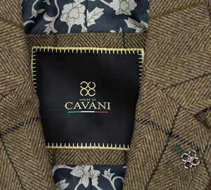 Cavani Sergio Brown Mens Sim Fit Tweed Style Jacket - Suit & Tailoring
