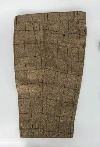 Cavani Sergio Tan Tweed Check Trousers - 28R - Suit & Tailoring