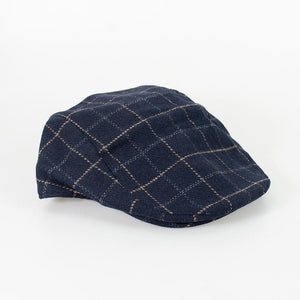 Cavani Shelby Navy Tweed Check Flat Cap - S/M - Accessories