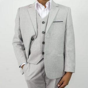 Cavani Veneto Boys Three Piece Light Grey Slim Fit Suit - Suit & Tailoring