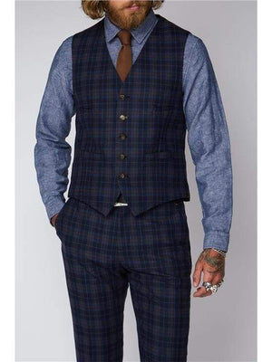 Gibson Blue And Brown Check Waistcoat - 34S - Suit & Tailoring