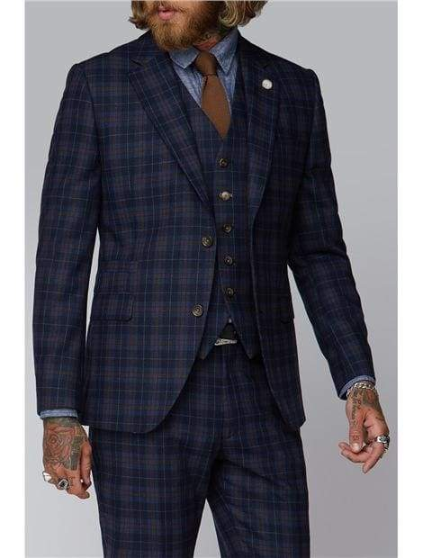 Gibson Blue And Brown Check Waistcoat - Suit & Tailoring