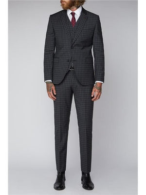 Gibson Grey Mini Check Slim Fit 3 Piece Suit - Suit & Tailoring