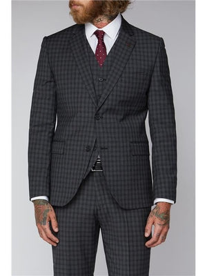 Gibson Grey Mini Check Slim Fit Suit Jacket - 34 / Short - Suit & Tailoring