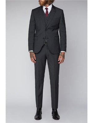 Gibson Grey Mini Check Slim Fit Suit Jacket - Suit & Tailoring