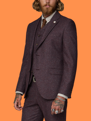 Gibson Hayling Berry Speckle 3 Piece Tweed Suit - Suit & Tailoring