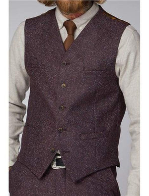 Gibson Berry Speckle Waistcoat - 34 / Short - Suit & Tailoring