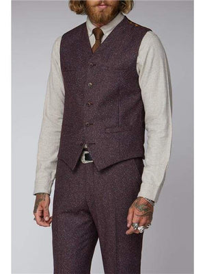 Gibson Berry Speckle Waistcoat - Suit & Tailoring