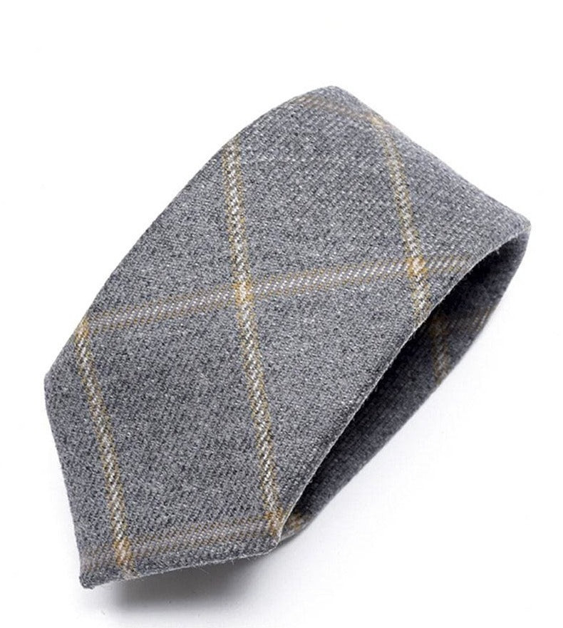 Heirloom Charcoal Mens Champagne Checked Tie - Accessories