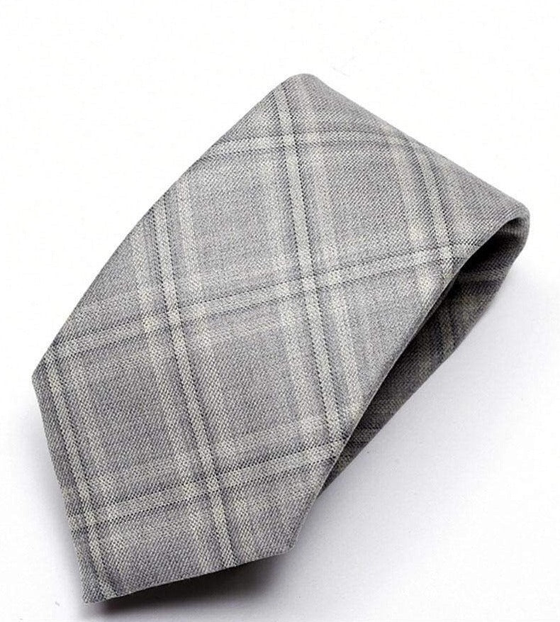 Heirloom Checkmate Mens Silver Check Tie - Accessories