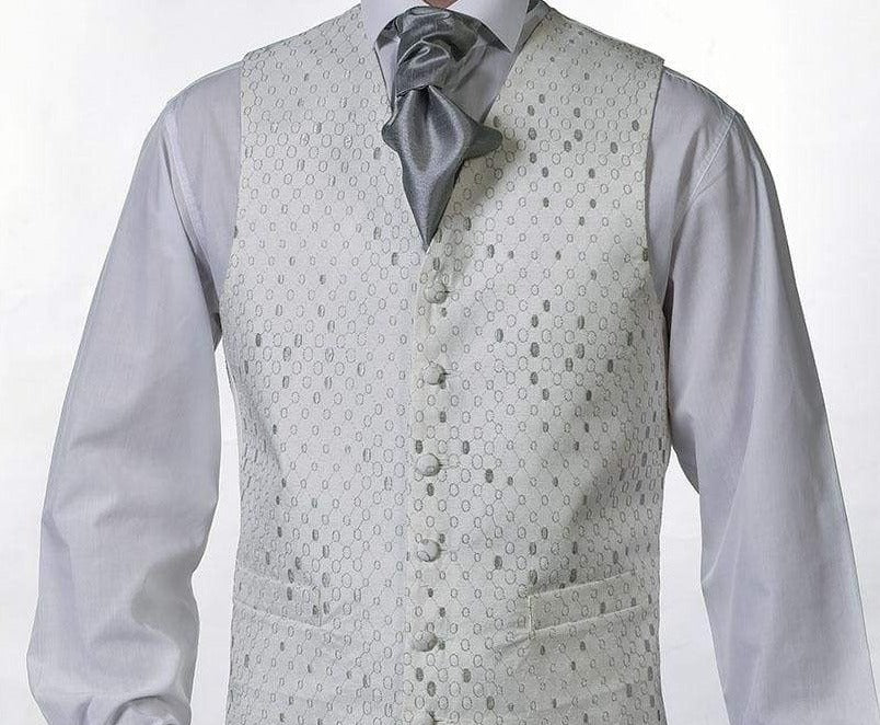 Heirloom Gerrard Mens Silver Luxury 100% Wool Tweed Waistcoat - 34R - WAISTCOATS