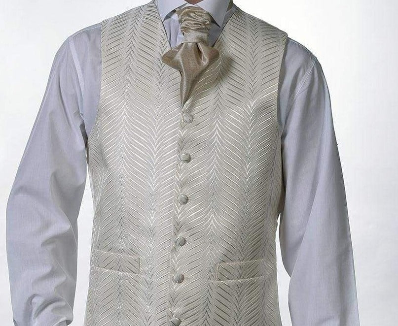Heirloom Kansas Mens Champagne Luxury 100% Wool Tweed Waistcoat - 34R - WAISTCOATS