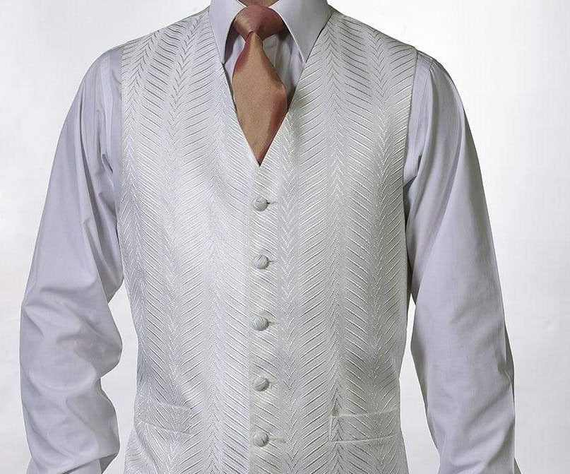 Heirloom Kansas Mens Ivory Luxury 100% Wool Tweed Waistcoat - 34R - WAISTCOATS