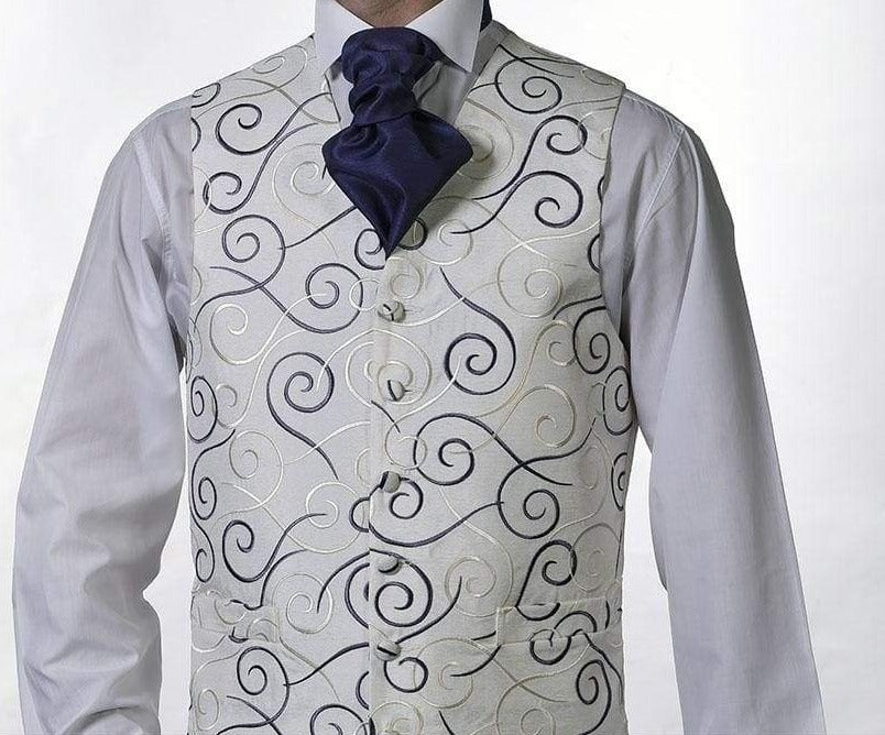 Heirloom Rene Mens Ivory Luxury 100% Wool Tweed Waistcoat - 34R - WAISTCOATS