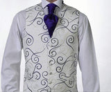 Heirloom Rene Mens Violet Luxury 100% Wool Tweed Waistcoat - 34R - WAISTCOATS