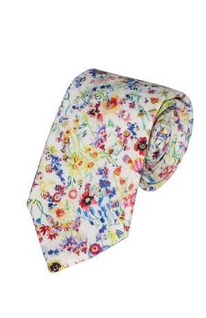 Liberty Fabric Floral Picnic Pink Cotton Tie - Accessories