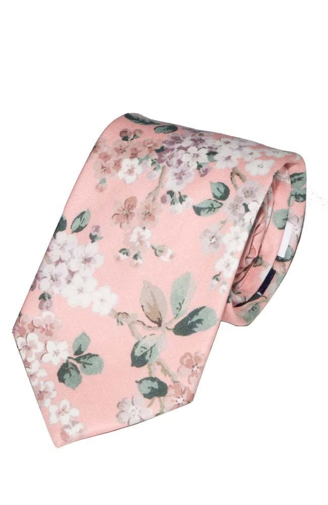 Liberty Fabric Josephine Pink Cotton Tie - Accessories
