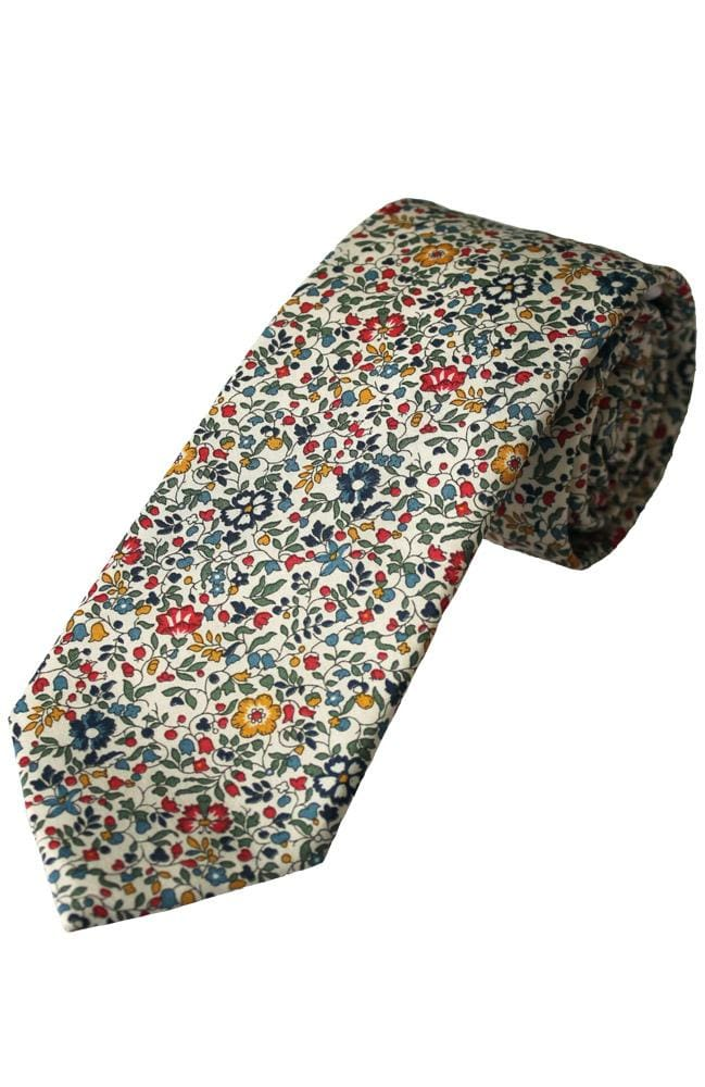 Liberty Fabric Katie & Millie Boys Red Cotton Tie - Accessories