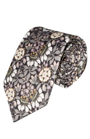 Liberty Fabric Persephone Grey Cotton Tie - Accessories
