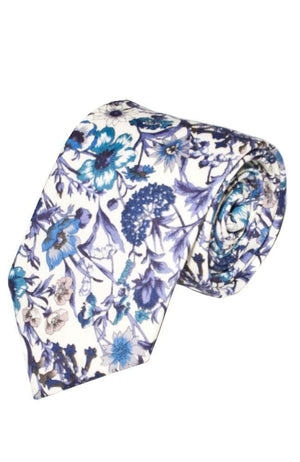 Liberty Fabric Rachel Blue Cotton Tie - Accessories