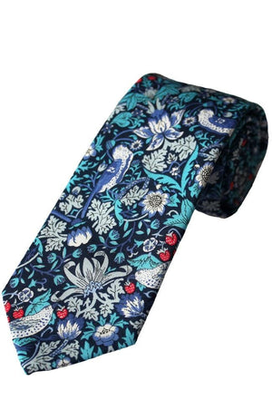Liberty Fabric Strawberry Thief Boys Blue Cotton Tie - Accessories