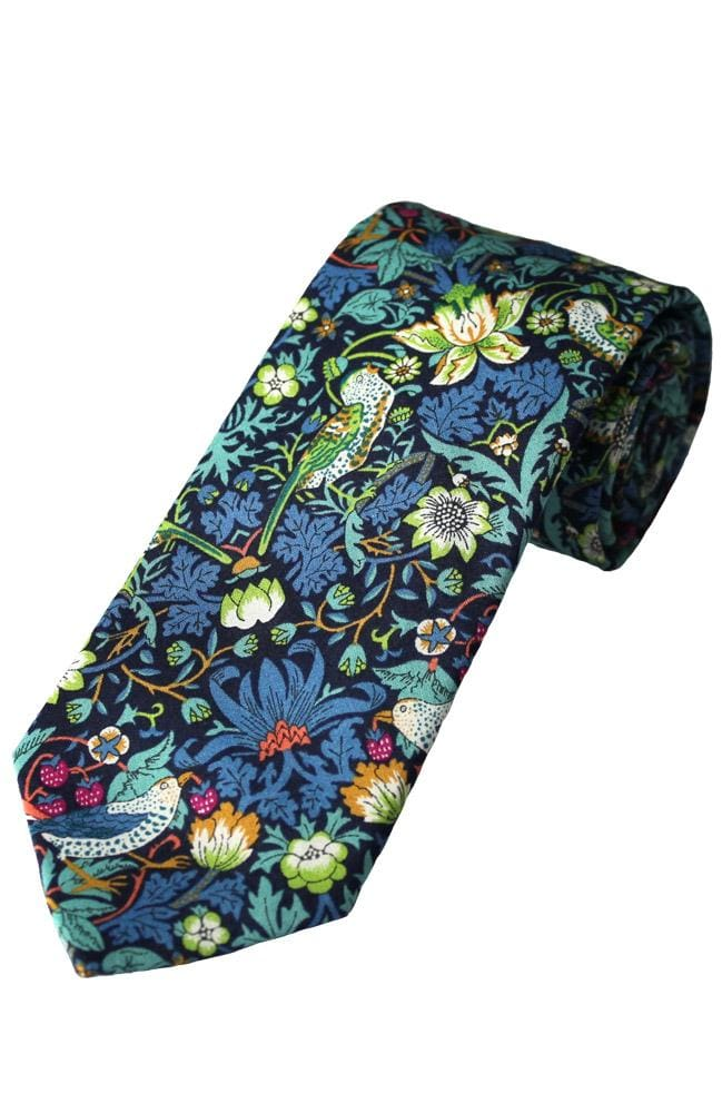 Liberty Fabric Strawberry Thief Boys Green Cotton Tie - Accessories