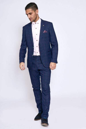 Marc Darcy HARRY Indigo Tweed Check Two Piece Suit - 36R / 30R - Suit & Tailoring