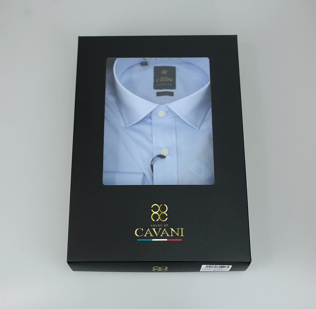 Mens Classic Collar Double Cuff Blue Slim Fit Shirt by Cavani - Shirts