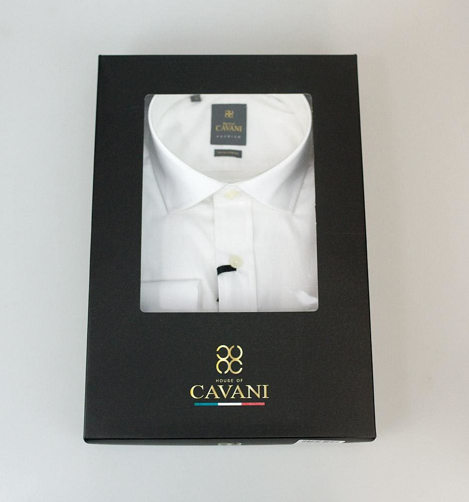 Mens Classic Collar Double Cuff White Slim Fit Shirt by Cavani - Shirts