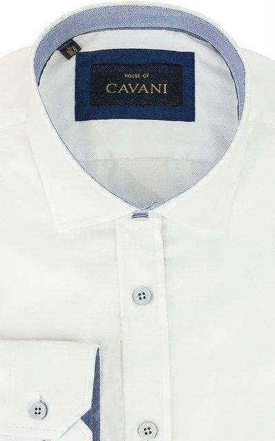 Mens Classic Collar White Herringbone Shirt by Cavani - Shirts