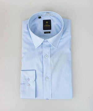Mens Easy Iron Blue Slim Fit Shirt by Cavani - Shirts