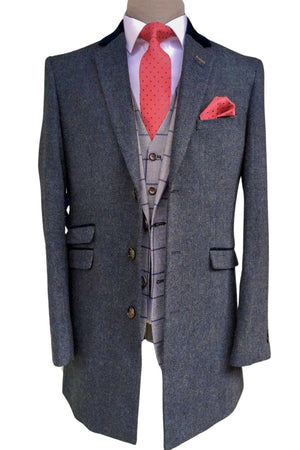 Navy Crombie Style Overcoat Kingston by Cavani - 36R - Coats