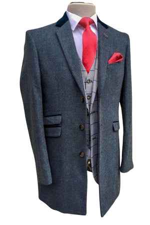 Navy Crombie Style Overcoat Kingston by Cavani - Coats