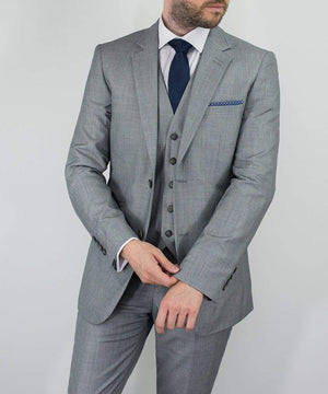Reegan 3 Piece Slim Fit Light Grey Suit - Suit & Tailoring