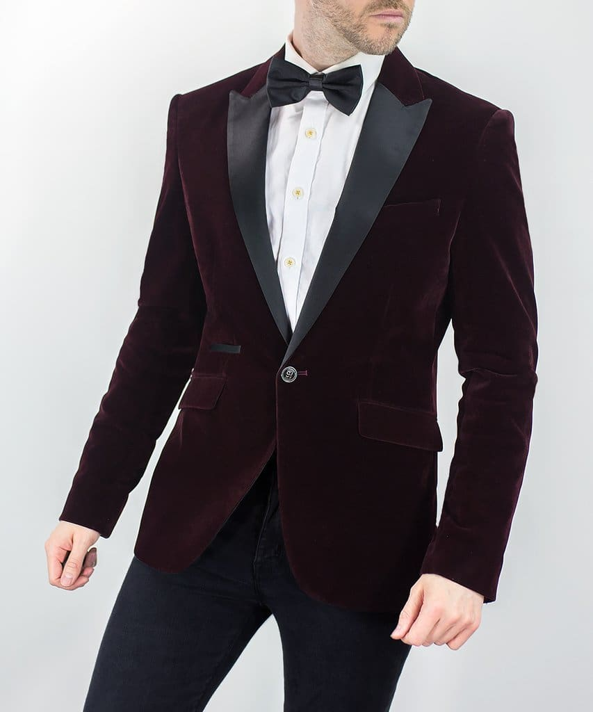 Rosa Wine Slim Fit Velvet Style Jacket - 34 - Suit & Tailoring