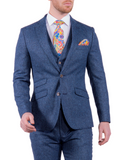 Torre Blue 100% British Wool Herringbone Mens Three Piece Tweed Suit - UK38S EU24 / 32S - Suit & Tailoring