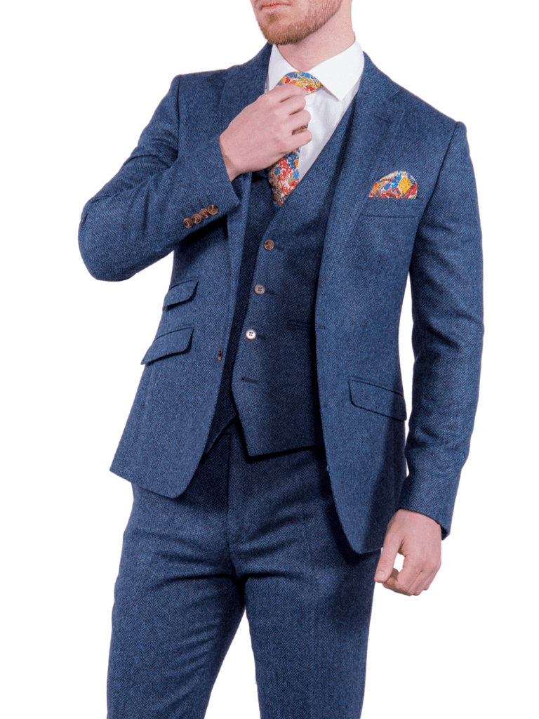 Torre Blue 100% British Wool Herringbone Mens Three Piece Tweed Suit - Suit & Tailoring