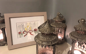 Christmas Candles with Bow Original Watercolour framed
