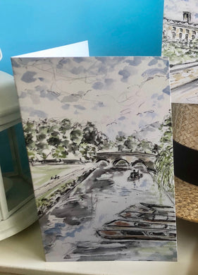 Greetings Card - Cambridge river view with punts