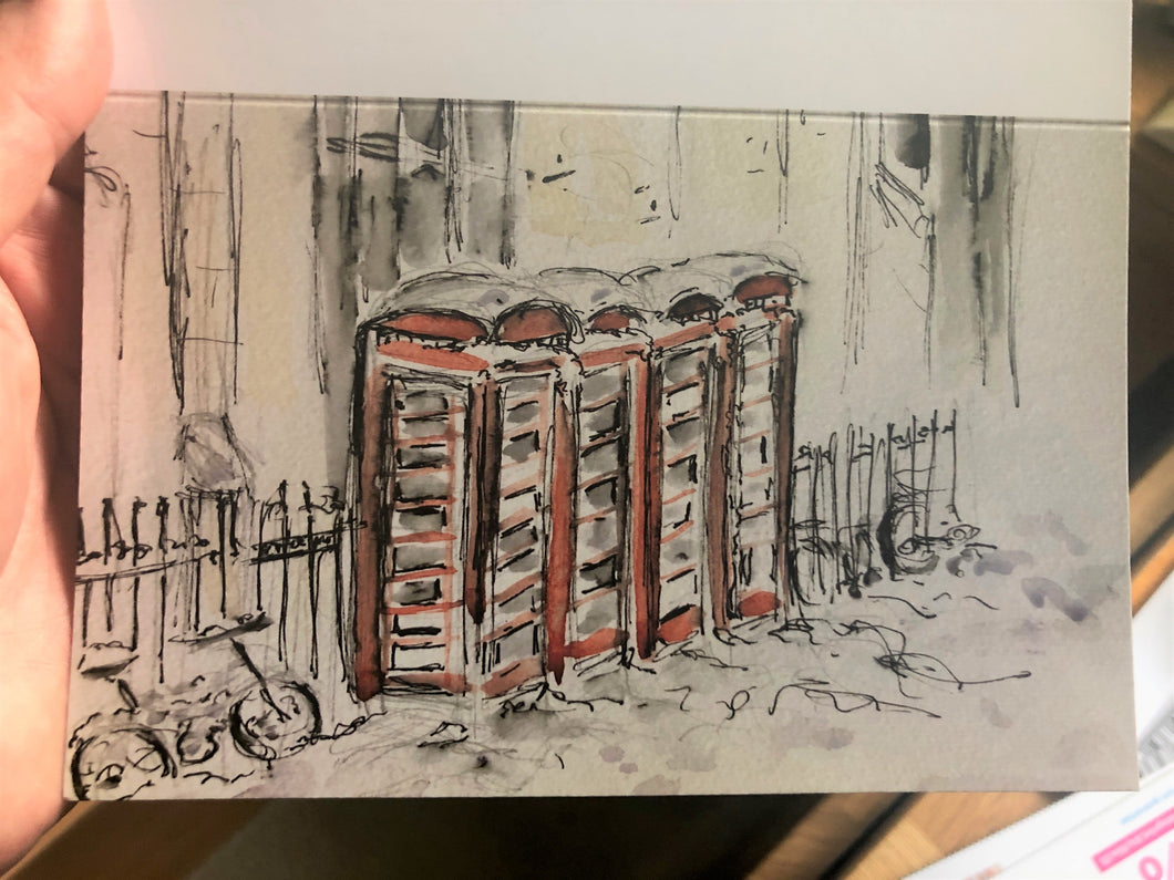 Phoneboxes in the Snow Greetings Card