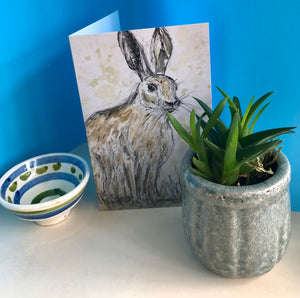 Friendly Hare Greetings Card